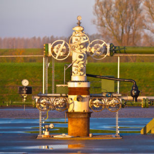 Vintage natural gas well head in Grijpskerk, Netherlands